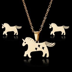 Other - New Gold Stainless Steel Horse Jewelry Set